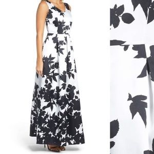 Black and white floral Ellen Tracy Gown